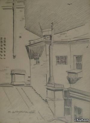 Крыши Петербурга.  1900-е.  Бумага, карандаш.